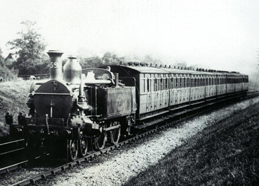 Steam hauled Jubilee stock near Rickmansworth in the 1890s