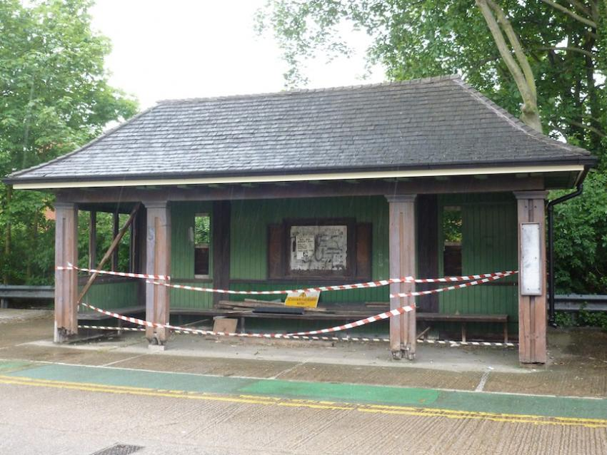 The partly restored tram shelter at the Depot