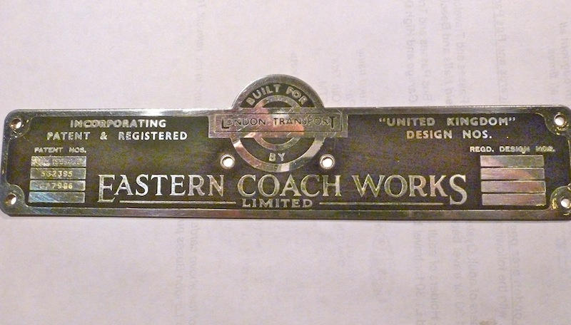 Eastern Coach Works builders plate